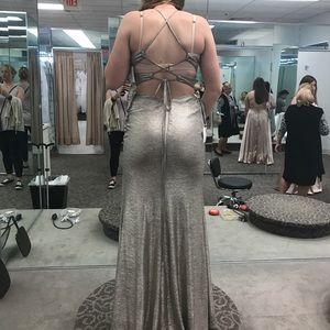 David's Bridal Gold Prom Dress
